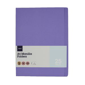J.Burrows Manila Folder A4 Purple 25 Pack