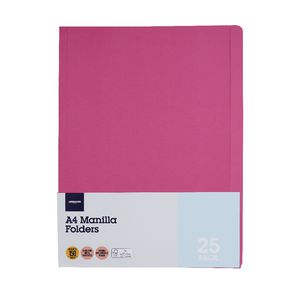 J.Burrows Manilla Folder A4 Pink 25 Pack