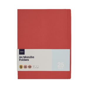 J.Burrows Manilla Folder A4 Red 25 Pack