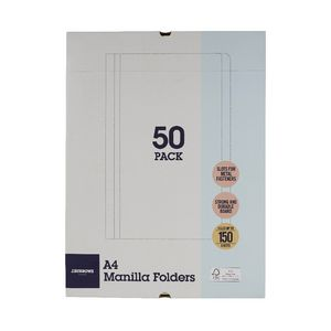 J.Burrows Manila Folder A4 Buff 50 Pack at Office Works in Trinity Gardens, SA | Tuggl