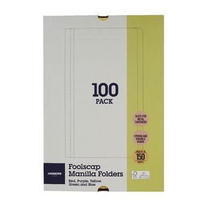 J.Burrows Manila Folder Foolscap Assorted Colours 100 Pack