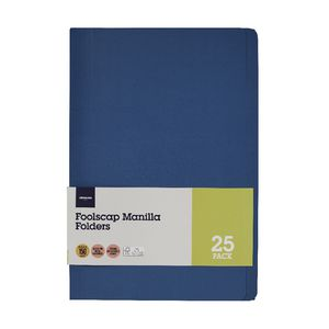 J.Burrows Manila Folder Foolscap Navy 25 Pack