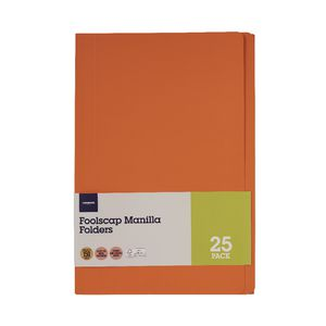 J.Burrows Foolscap Manila Folder Orange 25 Pack | Tuggl
