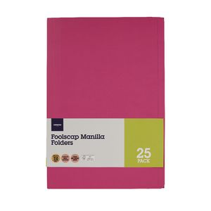J.Burrows Foolscap Manilla Folder Pink 25 Pack