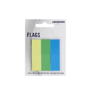 J.Burrows Translucent Flags 15 x 50mm Green and Blue 3 Pack