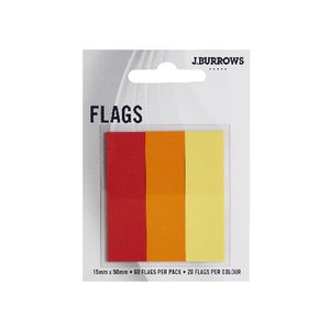 J.Burrows Translucent Flags 15 x 50mm Red and Orange 3 Pack
