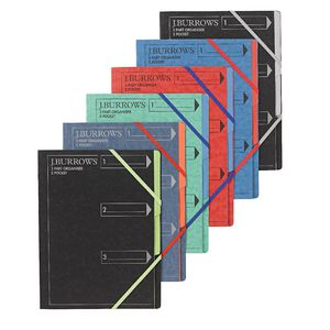 J.Burrows A4 3 Part Organiser Pressboard Assorted Colours