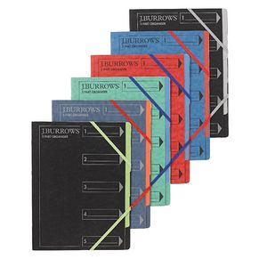J.Burrows A4 5 Part Organiser Pressboard Assorted Colours