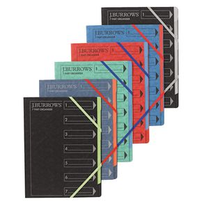 J.Burrows A4 7 Part Organiser Pressboard Assorted Colours