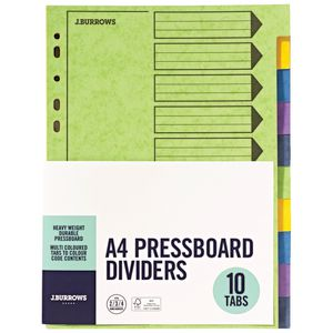 J.Burrows A4 Pressboard Index Dividers 10 Tab