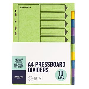 J.Burrows A4 10 Tab Pressboard Index Dividers