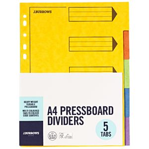 J.Burrows A4 Pressboard Index Dividers 5 Tab