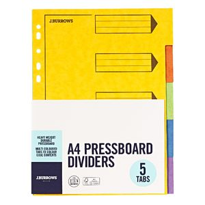 J.Burrows A4 5 Tab Pressboard Index Dividers