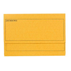 J.Burrows Pressboard Document Wallet Foolscap Yellow