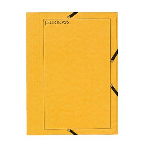 J.Burrows A4 Pressboard Elastic File Yellow