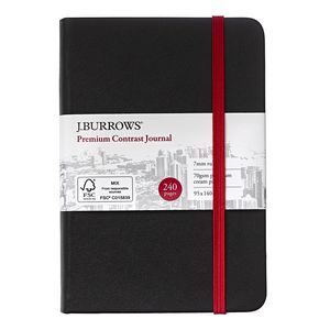 J.Burrows Pocket Colour Contrast Journal 240 Page Red