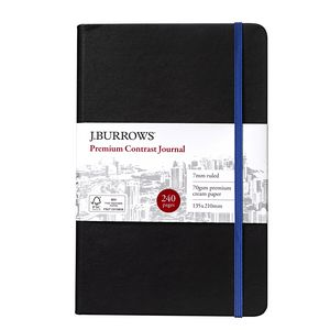 J.Burrows Journal 135 x 210mm Black with Blue Elastic