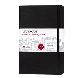 J.Burrows Journal 135 x 210mm with Elastic Black 240 Pages
