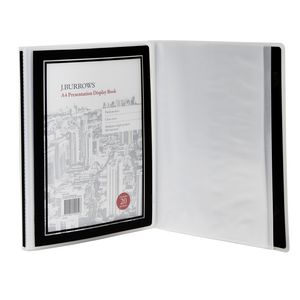 J.Burrows Presentation Display Book A4 20 Pocket Fixed Black