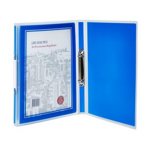 J.Burrows A4 2 D-Ring Presentation Binder Blue