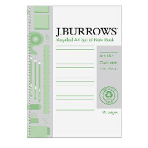J.Burrows A4 Recycled Notebook 120 Page