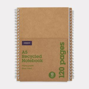 J.Burrows A5 Recycled Notebook 120 Page 10 Pack
