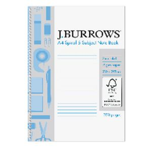 J.Burrows A4 Spiral 5 Subject Notebook 250 Page