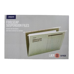 J.Burrows Suspension File Foolscap Green 10 Pack