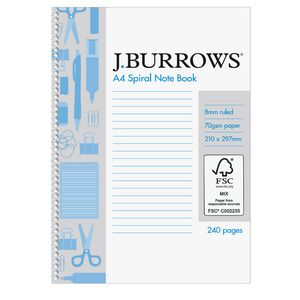 J.Burrows A4 Spiral Notebook 240 Page