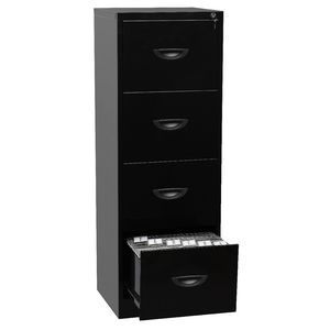 Soho 4 Drawer Filing Cabinet Black