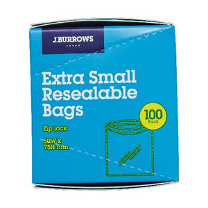 J.Burrows Resealable Plastic Bags Extra Small 100 Pack
