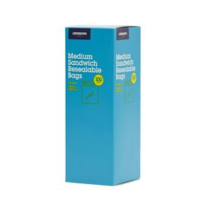 J.Burrows Resealable Plastic Bags Medium 100 Pack