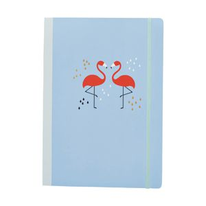 A4 Fabric Notebook 160 Page Blue Flamingo
