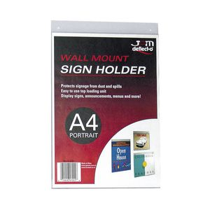deflect-O Wall Mount A4 Sign Holder Portrait