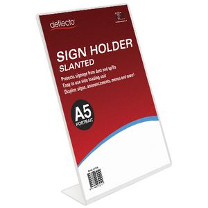 deflect-O Slanted A5 Sign Holder Portrait