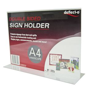 deflect-O Double Sided T-Shape A4 Sign Holder Landscape
