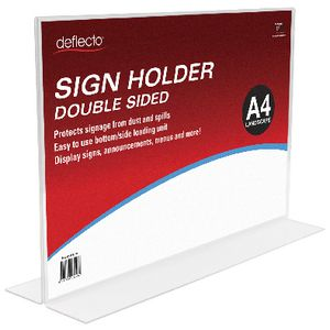 deflect-O double-sided T-Shape A4 Sign Holder Landscape
