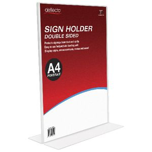 deflect-O A4 double-sided T-Shape Sign Holder Portrait