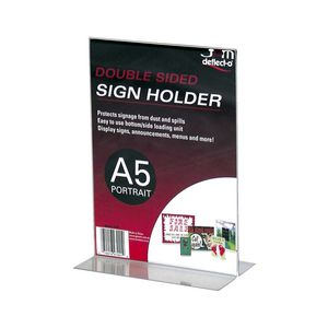 deflect-O A5 Double Sided T-Shape Sign Holder Portrait