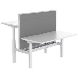 Stilford Electric 2 Person Desk 1500mm and Screen White/Grey