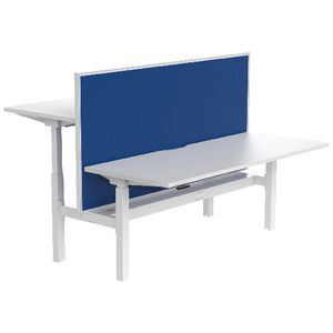 Stilford 4 Person Desk 1800mm and 2 Screens White/Blue