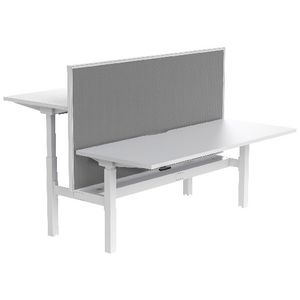 Stilford Electric 2 Person Desk 1800mm and Screen White/Grey