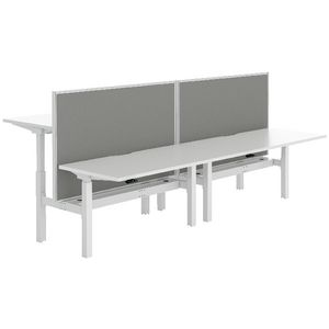 Stilford 4 Person Desk 3000mm and 2 Screens White/Grey