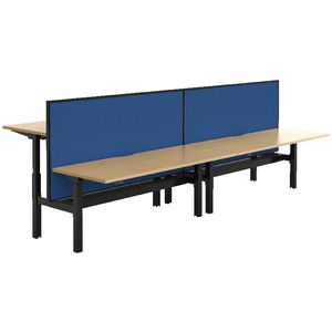 Stilford 4 Person Desk 3600mm and 2 Screens Black/Blue