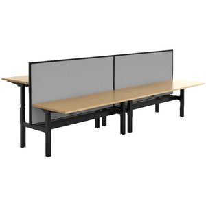 Stilford 4 Person Desk 3600mm and 2 Screens Black/Grey