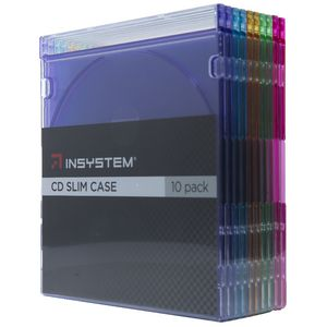 InSystem Slim CD Cases Assorted Colours 10 Pack