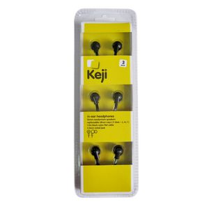 Keji In Ear Earphones Black 3 Pack