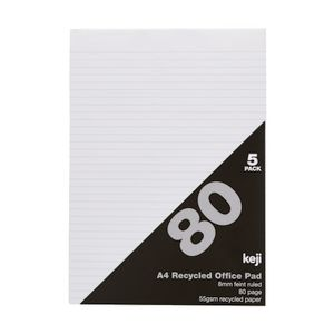 A4 Recycled Ruled Office Pad 80 Page 5 Pack