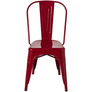 Steel Stacking Chair Red