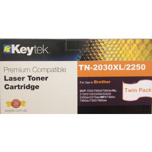 Keytek Brother TN-2250 Toner Cartridge Black Twin Pack